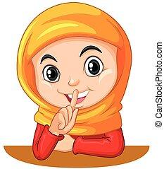 stille , meisje, moslim, gesturing, meldingsbord