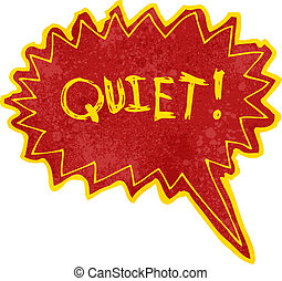 stille , schreeuw, boek, retro, komisch, spotprent