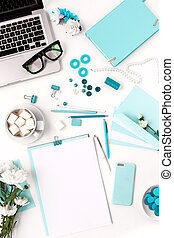 stilleben, av, mode, kvinna, blå, objekt, vita