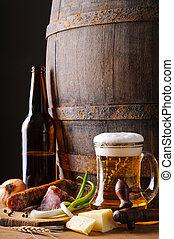 stilleben bier, und, lebensmittel