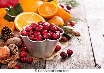 stilleben, falla, vinter, ingredienser