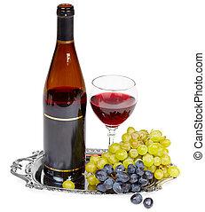 stilleben, -, flaska vin, glas, och, druvor, på, bricka