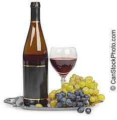 stilleben, -, flaska vin, glas, och, druvor, vita