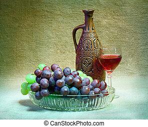 stilleben, från, druvor, flaska, och, exponeringsglas av wine