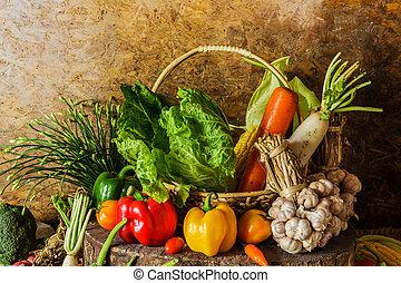 stilleben, grönsaken, örtar, och, fruit.