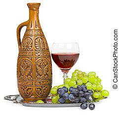 stilleben, -, lera, kanna, exponeringsglas av wine, och, druvor