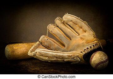 stilleben, med, baseballhandske