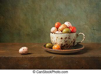 stilleben, med, choklad påsk eggar