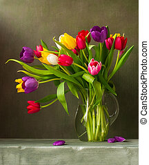 stilleben, med, färgrik, tulpaner