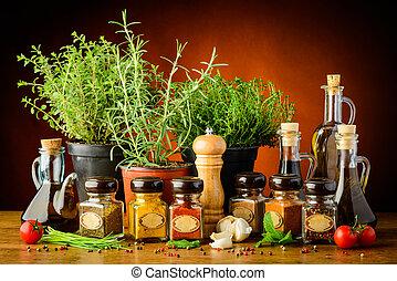stilleben, med, växter och kryddor