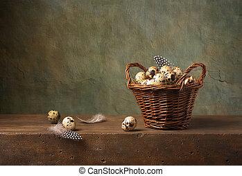 stilleben, med, vaktel, ägg, in, a, korg