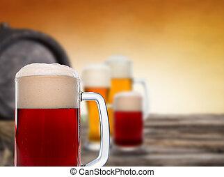 stilleben, mit, a, entwurf, bier