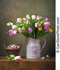 stilleben, mit, bunte, tulpen, und, wachtel, tulpen