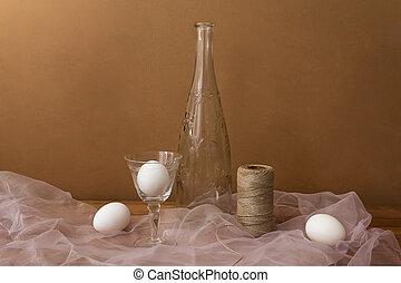 stilleben, mit, eier