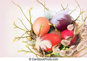 stilleben, mit, ostern, eggs.