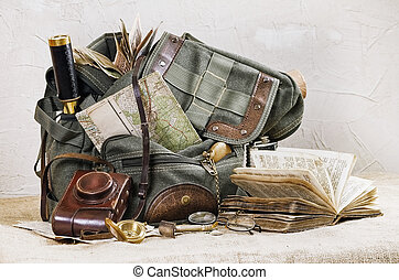 stilleben, mit, retro, rucksack