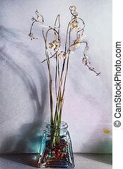 stilleben, mit, trocken, blumen, in, a, glas vase