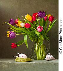 stilleben, mit, tulpen, und, ostereier