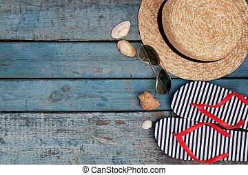 stilleben, von, verschieden, posten, für, entspannend, strand, gummi