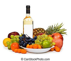 stilleven, -, fles, van, witte wijn, tussen, vruchten, op wit