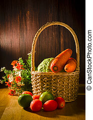 stilleven, groentes, in, mand, met, hout, achtergrond