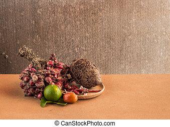stilleven, groentes, op, wooden table, achtergrond