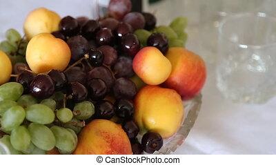 stilleven, met, kers, druif, en