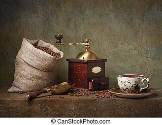 stilleven, met, kop van koffie, en, grinder