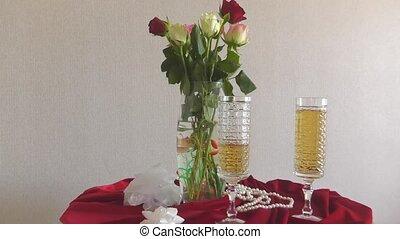 stilleven, met, rozen