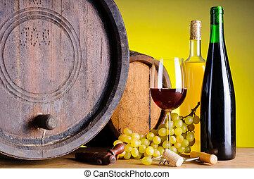 stilleven, met, wijntje, druiven, en, vaten