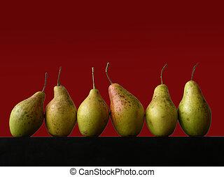 stilleven, met, zes, peren