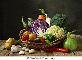 stilleven, oogsten, groentes, landbouwkundig, op, houten, achtergrond