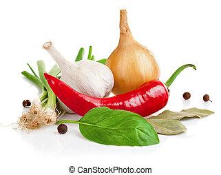 stilleven, van, garlic ui, peper, en, specerij