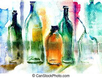 stilleven, van, gevarieerd, flessen