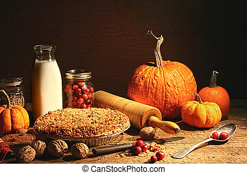 stilleven, van, herfst, vruchten, en, en, verbrokkelen,...