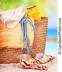 stilleven, van, strand, items