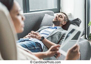 stillhet, tålmodig, in, kontor, av, psykoterapeut