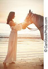 stillhet, ung, häst, kvinna, vacker
