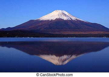 Stillness II - Pre-dawn view of Mount Fuji with mirror...