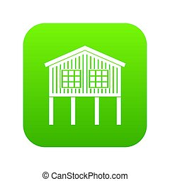 Stilt house icon green