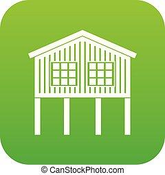 Stilt house icon green vector