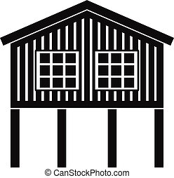 Stilt house icon, simple style - Stilt house icon. Simple...