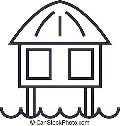stilt house vector line icon, sign, illustration on background, editable strokes