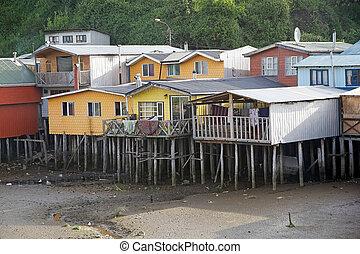 Stilt houses at Castro, Chiloe Island, Chile