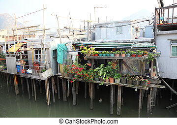 Stilt houses in chinese fishing village Tai O, Hong Kong