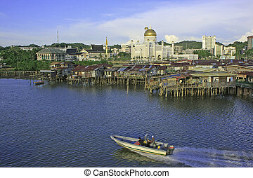 Stilt houses of Kampong Ayer and Sultan Omar Ali Saifudding...
