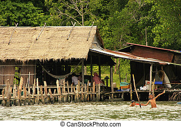 Stilt houses, Ream National Park, Cambodia, Southeast Asia