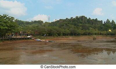 Stilt Path At Bukit Merah Lake, Malaysia - Wide low-angle...