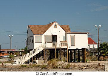 Stilted house in Corpus Christi, southern Texas USA