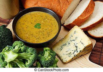 Stilton and broccoli soup - Bowl of broccoli and Stilton...